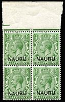 Lot 756:1916-23 Overprints on GB ½d marginal block of 4, upper-right unit with variety Short leg to 'N' of 'NAURU' overprint [R 1/8] SG #1(variety), fresh MUH.