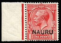 Lot 1294:1916-23 Overprints on GB 1d carmine-red variety Double overprint, one albino SG #2cb, marginal example, fresh MUH, Cat £225+.