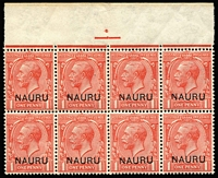 Lot 1295:1916-23 Overprints on GB 1d bright scarlet marginal block of 8 (4x2) from top of the pane with variety Short leg to 'N' of 'NAURU' overprint [R 1/8] SG #2(variety), MUH.