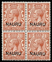Lot 1369:1916-23 Overprints on GB 1½d red-brown block of 4, lower-right unit variety Broken leg of 'N' of 'NAURU' SG #3(Variety), fresh MUH. Cat £220++.