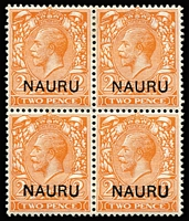 Lot 1371:1916-23 Overprints on GB 2d orange Die II SG #5, block of 4, upper-right with overprint variety Broken 'N' of 'NAURU', fine mint. Cat £280+.