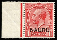 Lot 757:1916-23 Overprints on GB 1d carmine-red variety Double overprint, one albino SG #2cb, marginal example, fine mint, Cat £225.