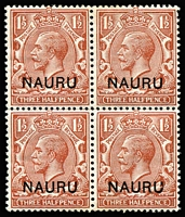 Lot 1137:1916-23 Overprints on GB 1½d red-brown block of 4, lower-right unit variety Broken leg of 'U' of 'NAURU' SG #3(Var), minor edge tone on gum, MUH. Cat £220+.