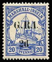 Lot 766:1914-15 5mm Overprint Spacing on Marshall Islands 2d on 20pf variety No stop after 'd' [Stg 2, Pos 5] SG #53e, very fine MLH, Cat £70+.