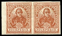 Lot 2127:1899 Chalk-Surfaced Paper Wmk 2nd Crown/NSW Perf 12x11 4d red-brown Captain Cook marginal pair variety Imperforate SG #303bc, very fresh MLH, Cat £600. Ideal for a thematic exhibit.