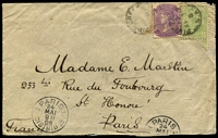 Lot 783 [1 of 2]:Pine Creek (1): two strikes of 1908 Type F1 datestamp tying SA ½d & 2d to cover addressed to France, Port Darwin squared-circle transit backstamp, Paris arrival datestamp on reverse, cover with small blemishes.  TO c.1873; PO c.-/7/1874; closed 19/2/1942.