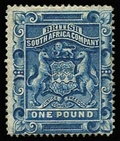 Lot 1493:1892-93 Arms Perf 14,14½ £1 deep blue SG #10, mint, Cat £325.