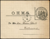 Lot 1027 [1 of 2]:260: (A1) fine & complete strike tying Minister of Lands and Surveys frank handstamp (Karman #V280.1) to OHMS postcard, unframed 'MACEDON/MY19/97/VICTORIA' datestamp alongside, Richmond arrival backstamp. Unusual.  Allocated to Black Forest-PO 15/3/1859; renamed Macedon PO 20/7/1870; LPO 2/7/1993.