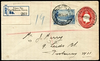 Lot 862 [1 of 2]:1934 Princes Pier registered use of KGV 2d Stationery Envelope uprated with 3d Victoria Centenary to Footscray tied by superb strike of 'PRINCES PIER PORT MELBOURNE/18OC34' datestamps being the first day of use APM #290, black & blue 'rat's tail' registration label numbered '260', appropriate backstamps, Cat $400+.