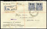 Lot 867 [1 of 2]:3d Blue Die II Overprinted 'OS' BW #109(OS) pair tied by Registered Sydney datestamp to 1933 (Jun 12) PMG's Dept printed cover addressed to Hamilton (NSW), some toning around registration label, single stamp alone Cat $1,200 on cover.