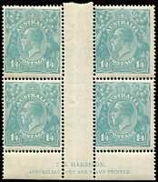 Lot 2071:1/4d Turquoise-Blue Harrison imprint block of 4 BW #128z, without the usual guillotining of the imprint & rare thus, MLH, Cat $8,500.