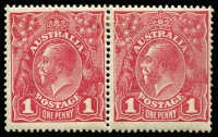 Lot 596:1d Carmine-Rose (G30) Smooth Paper Plate 2 Die II-I Substituted cliché joined pair BW #71(2)ia,ja, fine mint, Cat $8,000. Rare. Ex Kilfoyle.