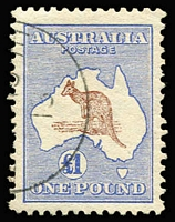 Lot 2011:£1 Brown & Blue with half cancel of Melbourne '[AP15]