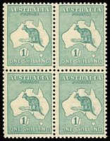Lot 2019:1/- Green BW #31 block of 4, fresh MUH, Cat $9,000+. Rare multiple.