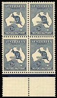 Lot 2014:2½d Bluish-Indigo marginal block of 4 left-hand units variety Heavy coastline to WA, upper-right unit variety Colour spot to east of Sydney [2R49-50,55-56] BW #10(2)d x2 & r, excellent centring, upper-left unit MLH with mild gum toning, other units fresh MUH, Cat $1,400+.