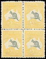 Lot 2021:5/- Grey & Yellow BW #43 block of 4, the lower-left unit with Distortion of lower part of 'A' of the watermark, usual fluffy perfs, excellent centring, upper-left unit MVLH, other units MUH. Very fresh, Cat $21,000+.