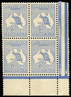 Lot 534:6d Ultramarine BW #18 left-hand pane corner block of 4, excellent centring, tiny tone spot on top units, 3 units MUH, Cat $6,000+. Visually attractive & rare multiple.
