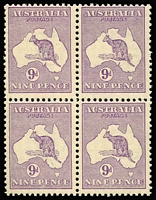 Lot 2016:9d Violet BW #25 block of 4, mild uniform gum toning, three units MUH, Cat $7,000+. Rare multiple.