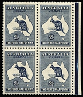 Lot 2022:2½d Indigo Watermark inverted BW #11Da marginal block of 4, extremely well centred, fresh MUH, extrapolated Cat $20,000. Superb!