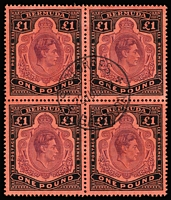 Lot 1224:1938-53 KGVI Keyplates £1 deep reddish purple & black/pale red SG #121c block of 4, neatly cancelled by central 'ST GEORGES/29JUL43/BERMUDA' datestamp, Cat £300+.