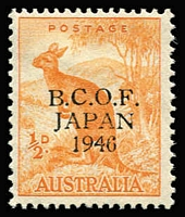 Lot 750:1946-49 ½d Roo variety '6' in wrong font [L9/4] BW #J1h, mint, Cat $225.