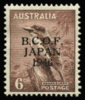 Lot 1288:1946-49 6d Kookaburra variety '6' in wrong font [L9/4] BW #J4h, mint, Cat $275.