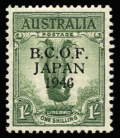 Lot 751:1946-49 1/- Lyrebird variety '6' in wrong font [L9/4] BW #J5h, mint, Cat $325.