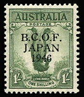Lot 1047:1946-49 Overprints 1/- Lyrebird variety '6' in wrong font [L9/4] BW #J5h, mint, Cat $325.