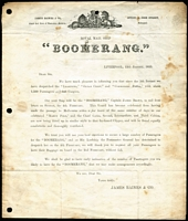 Lot 1532 [2 of 2]:1855 (Jan 13) printed letter announcing departure date of the Royal Mail ship Boomerang to Australia, sent locally with 1d red tied by Liverpool spoon cancel, some staining & part of the flap is missing. A rare survivor.