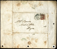 Lot 1532 [1 of 2]:1855 (Jan 13) printed letter announcing departure date of the Royal Mail ship Boomerang to Australia, sent locally with 1d red tied by Liverpool spoon cancel, some staining & part of the flap is missing. A rare survivor.