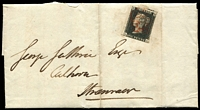 Lot 1403:1840 1d Black Plate 5 [SA] SG #2, margins cut-into (scissor cut into stamp at top) to large, on 1840 (Oct 7) entire from Kilmarnock (boxed backstamp) to Stranraer, stamp cancelled with red MC cancel.