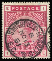 Lot 1246 [1 of 2]:1883-84 Wmk Anchor 2/6d lilac & 5/- rose SG #178,180, very fine used, Cat £410. (2)