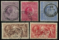 Lot 1524 [2 of 2]:1902-34 High Values comprising 1902-10 KEVII 2/6d, 5/- plus 10/- with 1902 Jersey datestamp, also 1934 KGV Re-engraved Seahorses 2/6d to 10/-, some mild condition issues, all with cds cancels, fine overall Cat £1,000+. (6)