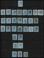 Lot 340:1871-1902 2d DLR Selection mostly Wmk 36 group (some maybe Wmk 40) includes P10x13 SG #210b, P13x10 #210ba x2 unused, P13 2d pale blue & 2d Prussian blue #209 & #210 both unused; also 1862 Wmk double-lined '2' with trimmed perfs unused (aging) possibly P12x13. Potentially appealing group for the specialist. (30)