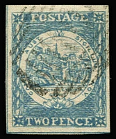 Lot 2125:1850 Sydney Views Plate II Early Impressions 2d bright blue (deep shade) variety No whip [R 2/8] SG #24e, good to large margins showing outer framelines on two sides, neatly cancelled, Cat £475++. Premium example.