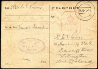 Lot 2247:Crete (June 26) Postal Card sent from NZ POW held at a German POW transit camp in Crete sent to NZ via Stammlager VIIIB Camp (oval handstamp on face) in Lamsdorf Silesia, then by air to Lisbon & London where censor handstamp applied some mild aging as to be expected. Nice item.