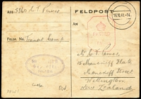 Lot 1473:Crete (June 26) Postal Card sent from NZ POW held at a German POW transit camp in Crete sent to NZ via Stammlager VIIIB Camp (oval handstamp on face) in Lamsdorf Silesia, then by air to Lisbon & London where censor handstamp applied some mild aging as to be expected. Nice item.
