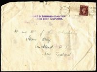 Lot 1631:1938 (Nov 23) inwards cover from UK with '[REC]EIVED IN DAMAGED CONDITION/[EX]