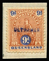 Lot 2134:1903-05 Commonwealth Wmk V/Crown Perf 12½ 9d brown & ultramarine Type A with 'ULTRAMAR' handstamp in violet-blue, affixed to small fragment from a ledger page. Ex Portuguese India Archives.