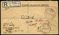 Lot 1451 [1 of 2]:1927 (Apr 21) Tulagi registered official cover to NZ with boxed 'BRITISH SOLOMON ISLANDS/(Crown)/PAID/TULAGI' handstamp in violet overstruck with Tulagi '21AP27' datestamp, Tulagi, Sydney & Apita (NZ) backstamps.