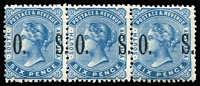 Lot 1009 [1 of 2]:1899-1901 Wide Overpint Setting: 1d rosine SG #O81 pair & 6d blue #O85 strip of 3, fresh MUH, Cat £180++. (2 items)