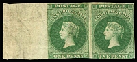 Lot 1148:1855 London Printing 1d imperforate marginal plate proof pair in issued colour on ungummed & unwatermarked paper, margins cut-into to good, left-hand unit surface crease. Scarce multiple.