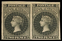 Lot 1010:1855 Imperf London Printing Perkins Bacon 2d imperforate plate proof pair in black on ungummed, unwatermarked paper, complete margins (scissor nick in right margin).