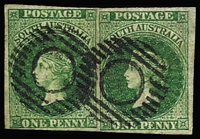 Lot 1003:1855 Imperf London Printing 1d dark green SG #1 horizontal pair, margins close to very good, Adelaide dumb cancels in black, Cat £1,000+. Lovely item.