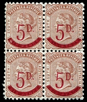 Lot 1008 [2 of 2]:1891-93 Surcharges Perf 10 2½d on 4d block of 8 (4x2), two left-hand units variety Thin fraction bar, also 5d on 6d block of 4, fresh MUH, Cat £140++. (2 items)