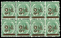Lot 1008 [1 of 2]:1891-93 Surcharges Perf 10 2½d on 4d block of 8 (4x2), two left-hand units variety Thin fraction bar, also 5d on 6d block of 4, fresh MUH, Cat £140++. (2 items)