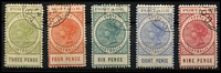 Lot 2137 [3 of 4]:1902-04 Thin 'POSTAGE' Perf 11½-12½ 3d to £1 set with Adelaide CTO datestamps many are clearly dated with 1904 quarter cancels (UPU Disribution date was 29/03/04), 10/- with 1907 cancel, £1 with small-part corner cancel; also Thick 'POSTAGE' Crown/SA 8d with 1907 cancel; all without gum, Cat $1,350+ (2004). A very scarce assembly. [Dates other than 1904 were used on CTO sets sold to collectors] (12)