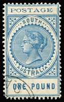 Lot 2137 [1 of 4]:1902-04 Thin 'POSTAGE' Perf 11½-12½ 3d to £1 set with Adelaide CTO datestamps many are clearly dated with 1904 quarter cancels (UPU Disribution date was 29/03/04), 10/- with 1907 cancel, £1 with small-part corner cancel; also Thick 'POSTAGE' Crown/SA 8d with 1907 cancel; all without gum, Cat $1,350+ (2004). A very scarce assembly. [Dates other than 1904 were used on CTO sets sold to collectors] (12)