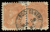 Lot 1029:Booleroo Centre: (A2) 'BOOLEROO CENTRE/MA20/83/[S_A]' very fine and largely complete Type F1 strike on 2d orange pair, [Rated 3R].  Renamed from Booleroo Central PO c.-/2/1883.