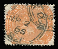 Lot 1293 [2 of 2]:Custon (1): (B2) 1895 Type F1 strike on 2d orange, also largely complete (1920s?) squared-circle datestamp tying KGV 2d red to piece, both cancels [Rated 3R]. (2) PO 20/2/1882; closed 28/2/1908.